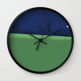 Astronaut walking his dog stretched print Wall Clock