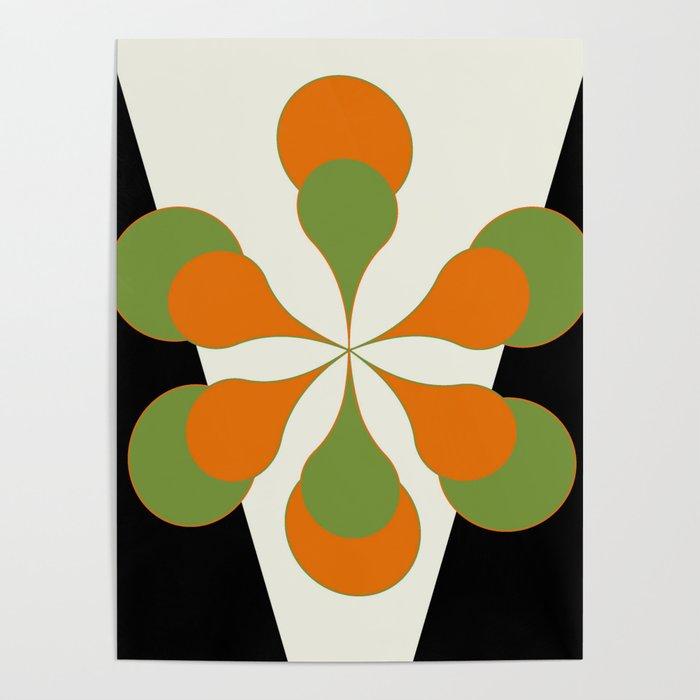 Mid-Century Modern Art 1.4 - Green & Orange Flower Poster