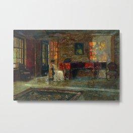 Evening interior music piano run light and shadows portrait painting by Stanislav Zhukovsky Metal Print