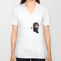 winter soldier V-neck T-shirts featuring The winter Soldier by MaliceZ