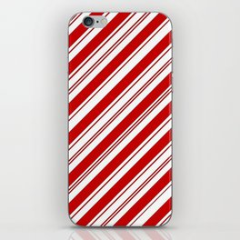 winter holiday xmas red white striped peppermint candy cane iPhone Skin