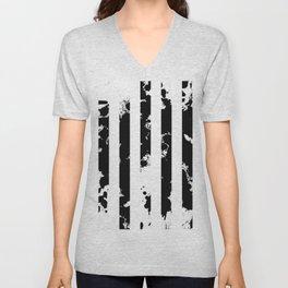 Splatter Bars - Black ink, black paint splats in a stripey stripy pattern Unisex V-Neck