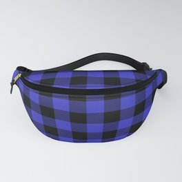 Jumbo Cornflower Blue and Black Rustic Cowboy Cabin Buffalo Check Fanny Pack