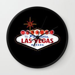 Vintage Welcome to Fabulous Las Vegas Nevada Sign on dark background Wall Clock