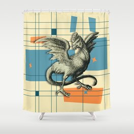 Mythical Cockatrice on Retro Pattern Shower Curtain