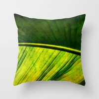 banana leaf Throw Pillows featuring Banana leaf by helsch photography