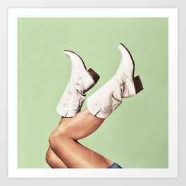 These Boots - Green Art Print