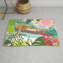 Colorful Jungle Cheetah Print Rug