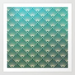 Teal golden Art Deco pattern Art Print