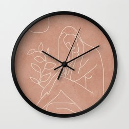 Engraved Nude Line I Wall Clock