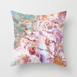 Multi colored geode amethyst slice Throw Pillow