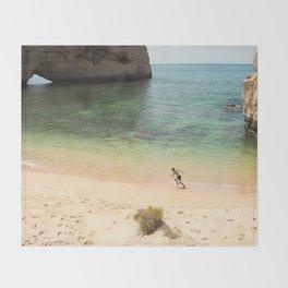 Run on the beach Throw Blanket