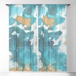 Aqua Teal Gold Abstract Painting #1 #ink #decor #art #society6 Sheer Curtain