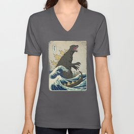The Great Godzilla off Kanagawa Unisex V-Ausschnitt
