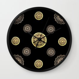 Gold and Rose Gold Mandalas on Black Background Textile Wall Clock