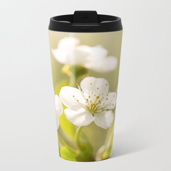 Beautiful cherry blossom on a vivid green background - summer atmosphere Metal Travel Mug