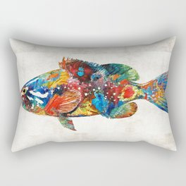 Colorful Grouper Art Fish by Sharon Cummings Rectangular Pillow