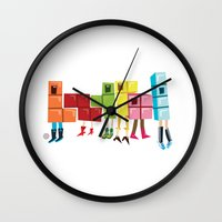 tetris Wall Clocks featuring Tetris by Sarit Evrani