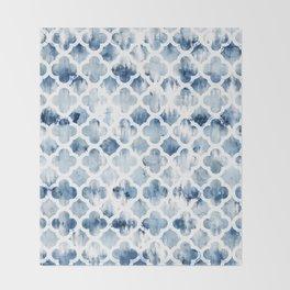 Modern navy blue tie dye hand painted watercolor geometric quatrefoil pattern Throw Blanket