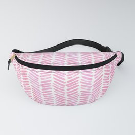 Handpainted Chevron pattern small - pink watercolor on white Fanny Pack