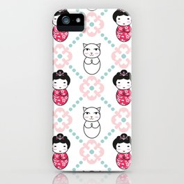 Kokeshi & Lucky Cat iPhone Case