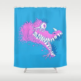 One Eyed Bubblegum Beast Shower Curtain