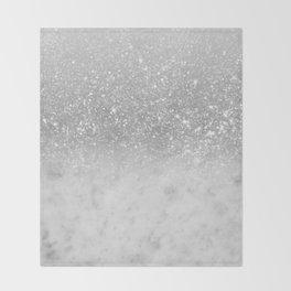 White Marble Silver Ombre Glitter Glam #1 #shiny #gem #decor #art #society6 Throw Blanket