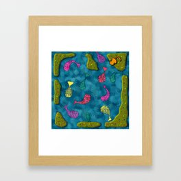 Colors in the pond Framed Art Print