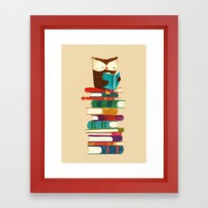 Owl Reading Rainbow Framed Art Print