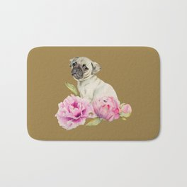Pug and Peonies | Watercolor Illustration Bath Mat
