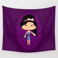 amy hamilton Wall Tapestries featuring Amy by Sombras Blancas Art & Design