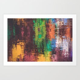 Colorful Scratches on Canvass Art Print