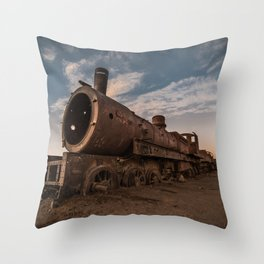Train Cemetery, Uyuni Throw Pillow