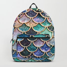 Multicolor pink and aqua mermaid scales -Beautiful abstract glitter pattern Backpack