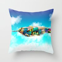 narwhal Throw Pillows featuring Narwhal by Sircasm