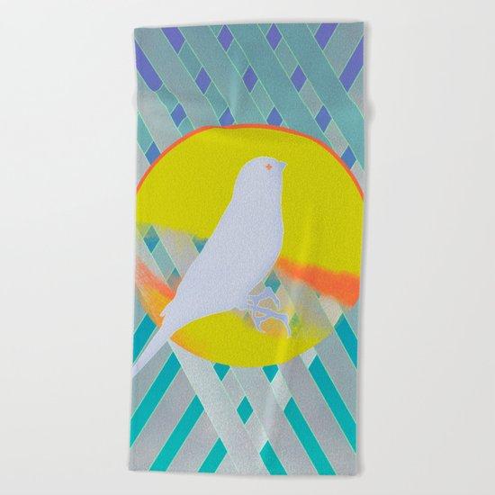 Bluebird waits summer Beach Towel