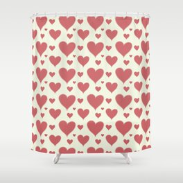 Vintage chic pastel red ivory romantic valentine's hearts Shower Curtain