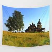 russia Wall Tapestries featuring Wooden Church, Merkushino, Russia by Svetlana Korneliuk