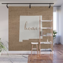 New Mexico is Home - White on Burlap Wall Mural