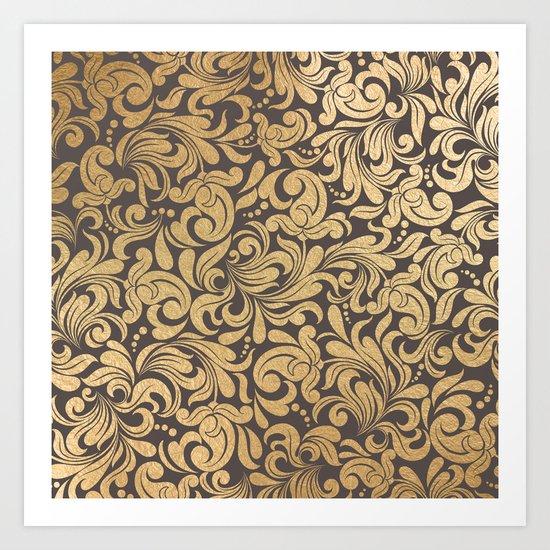 Gold foil swirls damask #11 Art Print