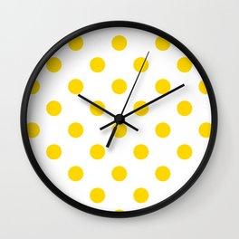 Polka Dots - Gold Yellow on White Wall Clock