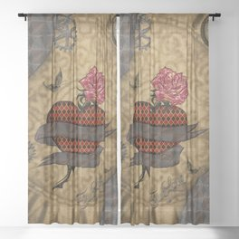 Steampunk, wonderful heart with rose Sheer Curtain
