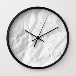 WRINKLED WHITE PAPER SHEET Wall Clock