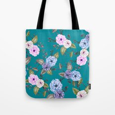 Climbing Roses Pink Blue Lilac on Teal Tote Bag