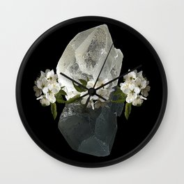 Angelica flower and Crystal Clear Quartz | AZIMA Wall Clock