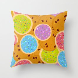 Frosted sugar cookies, Chocolate chip cookie, Italian Freshly baked sugar cookies Throw Pillow