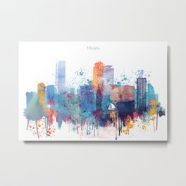 Miami watercolor skyline design Metal Print