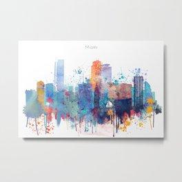 Miami watercolor skyline design Metal Print