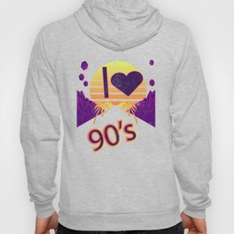 I Love 90's 90s Purple Vintage Polygon Effect Gift Hoody