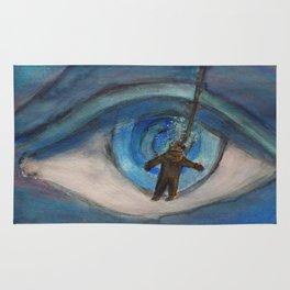 Kraken eyeball vs deep sea diver Rug